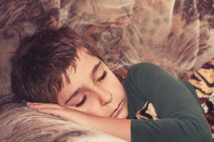 Sleeping child.  Toned image. Stock Photos