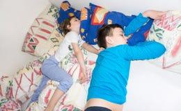 Sleeping children relax resting boys brothers Stock Photos