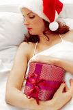 Sleeping at Christmas stock image