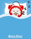 Sleeping clock. Back to school. Sleeping clock. Space for text Stock Photography