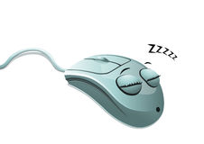 Sleeping computer mouse Royalty Free Stock Images