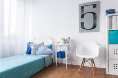 Sleeping corner in cozy room for boy Royalty Free Stock Images