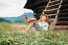 Sleeping country boy Royalty Free Stock Images