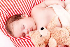 Cute little baby todler infant lying on blanket Royalty Free Stock Photos