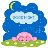 Sleeping cute pink monster. Greeting card. Vector illustration Royalty Free Stock Photos