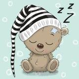Sleeping cute Teddy Bear in a hood. On a blue background stock illustration