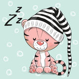 Sleeping cute Tiger in a hood Royalty Free Stock Images