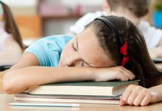 Sleeping at the desk, close up Royalty Free Stock Photo