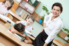 Sleeping at the desk pupil Stock Photography