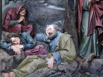 Sleeping Disciples. Altarpiece in church of Saint Matthew in Stitar, Croatia Royalty Free Stock Photography