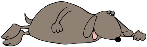 Sleeping Dog. This illustration depicts a dog sleeping with one eye open Royalty Free Stock Images