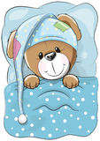 Sleeping Dog. With a hood in a bed vector illustration