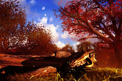 Sleeping Dragon. Dragon sleeping in the middle of the forest Royalty Free Stock Photos