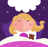 Sleeping and dreaming girl in pink pyjama. Cute girl sleeping with her teddy during dark blue night. Stars in background behind bed. Vector Illustration Stock Photography