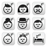 Sleeping, dreaming people faces buttons set Royalty Free Stock Photo