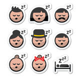 Sleeping, dreaming people faces icons set Stock Photo