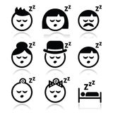 Sleeping, dreaming people faces icons set vector illustration