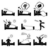Sleeping Dreaming Snoring Insomnia Waking Up. A set of pictogram representing a man sleeping, dreaming, sleep walking, and other sleeping problem Royalty Free Stock Photography