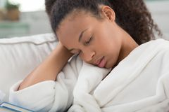Sleeping in dressing gown Royalty Free Stock Image