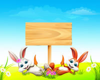 Sleeping easter bunny with wooden sign. 3d rendered illustration of Sleeping easter bunny with wooden sign Royalty Free Stock Photography