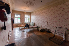 Sleeping and eating area for refugees in the temporary apartment for living. Existence Royalty Free Stock Photography