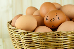 Sleeping egg in group of eggs in a wicker basket in wood background. Sleeping egg in group of eggs in a wicker basket in wood background Royalty Free Stock Photos