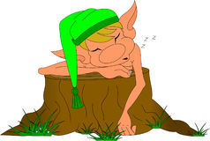 Sleeping elf. In a hood on a tree stump Royalty Free Stock Images
