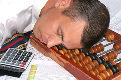 Sleeping engineer- planner Royalty Free Stock Photo