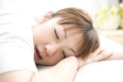 Sleeping face of Japanese woman Stock Image