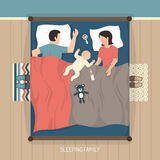 Sleeping Family With Nursing Baby Royalty Free Stock Images