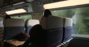 Sleeping in fast train in motion stock footage