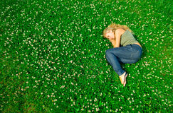 Sleeping in the field Stock Photos