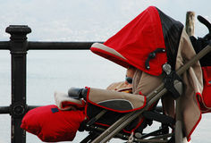 Sleeping in the fog. A little baby boy sleeps in his pushchair in a foggy day Royalty Free Stock Photos