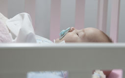 Sleeping four month baby boy lying in cot with pacifier Stock Photos