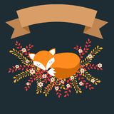 Sleeping fox in autumn leaves and flowers Vector Illustration