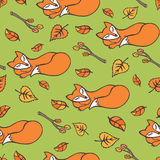 Sleeping Fox and autumn leaves seamless pattern Stock Photos