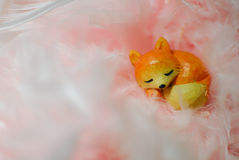 Sleeping fox. Peacful sleeping fox in the middle of pinky dream Stock Images