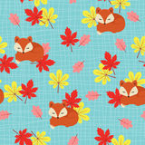 Sleeping fox seamless pattern Stock Images