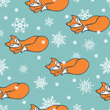 Sleeping Fox and snowflake seamless pattern Royalty Free Stock Images
