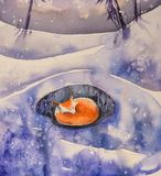 Sleeping fox in winter watercolors painted. Winter scene with fox,tree and snow covered field and dried grass.Picture created with watercolors Royalty Free Stock Image
