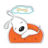 Sleeping funny puppy. Isolated on white. Sticker Stock Image
