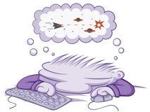 Sleeping Gamer. Cartoon, vector, horizontal, over white,  isolated Royalty Free Stock Photo
