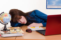 Sleeping geography teacher Stock Image