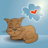 Sleeping ginger cat with a speech bubble dreaming card Royalty Free Stock Photography