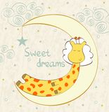 Sleeping giraffe Stock Images