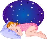 Sleeping_girl. Cute Red Hair Girl Sleeping. Vector Illustration Stock Image