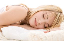 Sleeping girl. Bright closeup picture of sleeping teenage girl stock photography