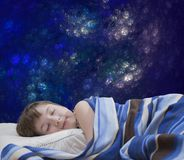 Sleeping girl on abstract background Stock Image