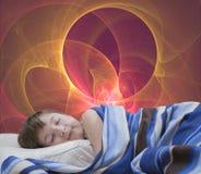 Sleeping girl on abstract background Stock Photos
