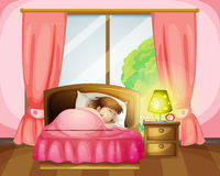 A sleeping girl on a bed. Illustration of a sleeping girl on a bed in a room Royalty Free Stock Images